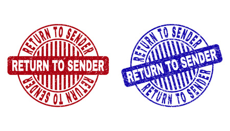 Grunge RETURN TO SENDER round stamp seals isolated on a white background. Round seals with grunge texture in red and blue colors.
