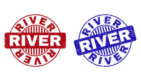 Grunge RIVER round stamp seals isolated on a white background. Round seals with distress texture in red and blue colors. Vector rubber watermark of RIVER tag inside circle form with stripes. Çizim