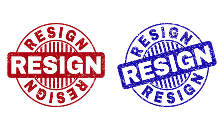 Grunge RESIGN round stamp seals isolated on a white background. Round seals with grunge texture in red and blue colors. Vector rubber imprint of RESIGN title inside circle form with stripes.
