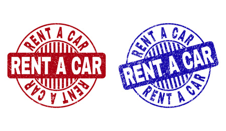 Grunge RENT A CAR round stamp seals isolated on a white background. Round seals with grunge texture in red and blue colors. Vector rubber imprint of RENT A CAR label inside circle form with stripes.