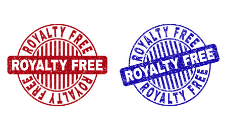 Grunge ROYALTY FREE round stamp seals isolated on a white background. Round seals with grunge texture in red and blue colors.