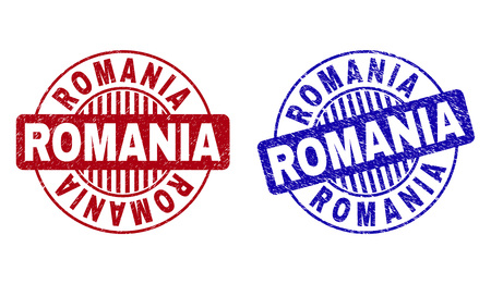 Grunge ROMANIA round stamp seals isolated on a white background. Round seals with grunge texture in red and blue colors. Vector rubber overlay of ROMANIA caption inside circle form with stripes.