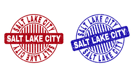 Grunge SALT LAKE CITY round stamp seals isolated on a white background. Round seals with grunge texture in red and blue colors. Illusztráció