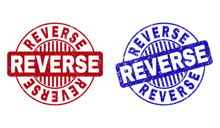 Grunge REVERSE round stamps isolated on a white background. Round seals with grunge texture in red and blue colors. Vector rubber imitation of REVERSE text inside circle form with stripes.