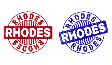 Grunge RHODES round stamp seals isolated on a white background. Round seals with distress texture in red and blue colors. Vector rubber watermark of RHODES title inside circle form with stripes.