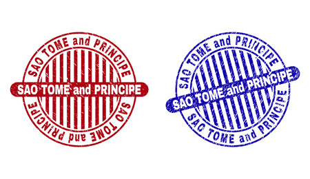 Grunge SAO TOME AND PRINCIPE round stamp seals isolated on a white background. Round seals with grunge texture in red and blue colors.