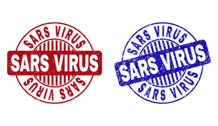 Grunge SARS VIRUS round stamp seals isolated on a white background. Round seals with grunge texture in red and blue colors. Vector rubber overlay of SARS VIRUS text inside circle form with stripes. Illustration