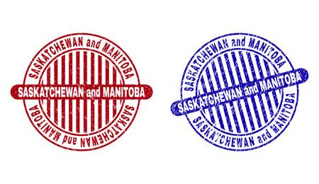 Grunge SASKATCHEWAN AND MANITOBA round stamp seals isolated on a white background. Round seals with grunge texture in red and blue colors. Illustration