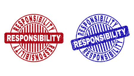 Grunge RESPONSIBILITY round stamp seals isolated on a white background. Round seals with grunge texture in red and blue colors. Çizim