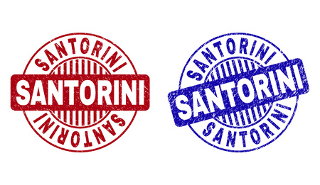 Grunge SANTORINI round stamp seals isolated on a white background. Round seals with grunge texture in red and blue colors. Vector rubber imprint of SANTORINI title inside circle form with stripes.