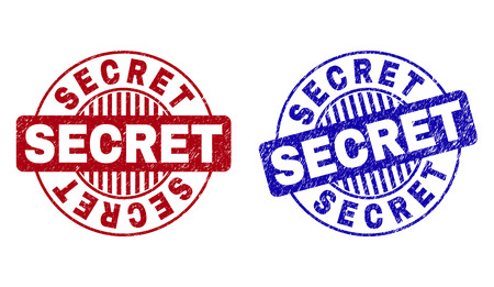 Grunge SECRET round stamp seals isolated on a white background. Round seals with grunge texture in red and blue colors. Vector rubber imitation of SECRET label inside circle form with stripes.