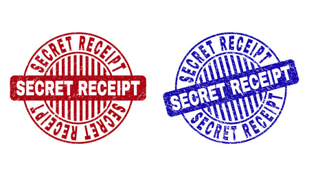 Grunge SECRET RECEIPT round stamp seals isolated on a white background. Round seals with grunge texture in red and blue colors.