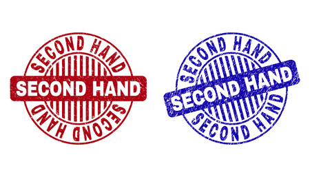 Grunge SECOND HAND round stamp seals isolated on a white background. Round seals with grunge texture in red and blue colors.