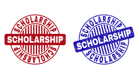 Grunge SCHOLARSHIP round stamp seals isolated on a white background. Round seals with grunge texture in red and blue colors.