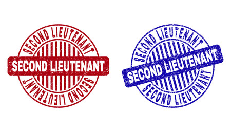 Grunge SECOND LIEUTENANT round stamp seals isolated on a white background. Round seals with grunge texture in red and blue colors.