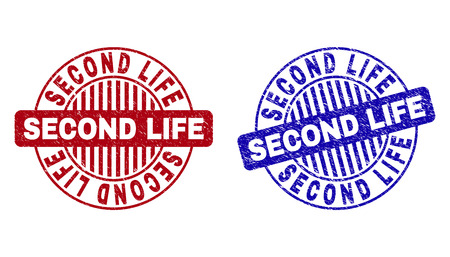 Grunge SECOND LIFE round stamp seals isolated on a white background. Round seals with grunge texture in red and blue colors.