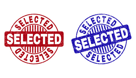 Grunge SELECTED round stamp seals isolated on a white background. Round seals with distress texture in red and blue colors. Vector rubber overlay of SELECTED text inside circle form with stripes.