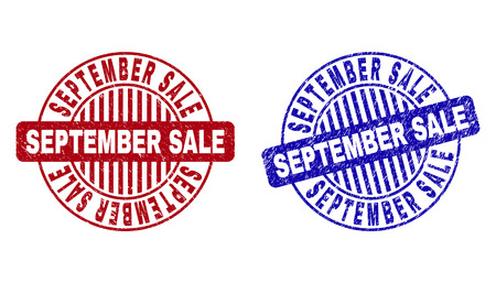 Grunge SEPTEMBER SALE round stamp seals isolated on a white background. Round seals with grunge texture in red and blue colors.
