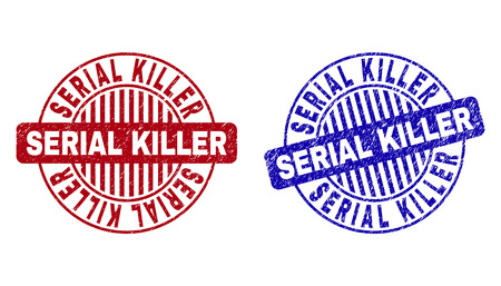 Grunge SERIAL KILLER round stamps isolated on a white background. Round seals with grunge texture in red and blue colors. Vector rubber watermark of SERIAL KILLER tag inside circle form with stripes. Ilustracja