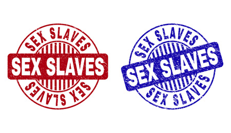 Grunge SEX SLAVES round stamp seals isolated on a white background. Round seals with grunge texture in red and blue colors. Vector rubber overlay of SEX SLAVES title inside circle form with stripes.