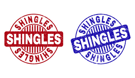 Grunge SHINGLES round stamp seals isolated on a white background. Round seals with grunge texture in red and blue colors. Vector rubber imitation of SHINGLES title inside circle form with stripes.