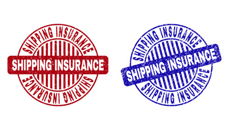 Grunge SHIPPING INSURANCE round stamp seals isolated on a white background. Round seals with grunge texture in red and blue colors.