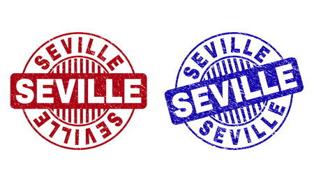 Grunge SEVILLE round stamp seals isolated on a white background. Round seals with grunge texture in red and blue colors. Vector rubber imitation of SEVILLE title inside circle form with stripes.