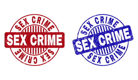 Grunge SEX CRIME round stamp seals isolated on a white background. Round seals with grunge texture in red and blue colors. Vector rubber imprint of SEX CRIME caption inside circle form with stripes. Illustration