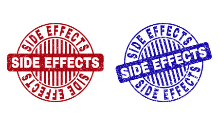 Grunge SIDE EFFECTS round stamp seals isolated on a white background. Round seals with grunge texture in red and blue colors. Stock Illustratie