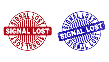 Grunge SIGNAL LOST round stamp seals isolated on a white background. Round seals with grunge texture in red and blue colors. Vector rubber overlay of SIGNAL LOST tag inside circle form with stripes.