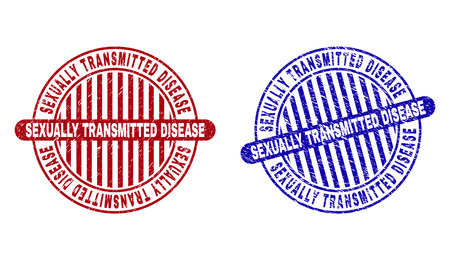 Grunge SEXUALLY TRANSMITTED DISEASE round stamp seals isolated on a white background. Round seals with grunge texture in red and blue colors.