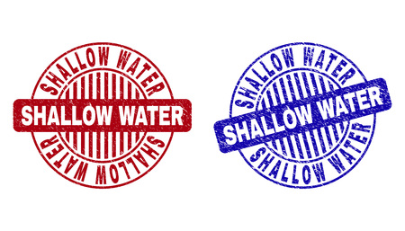 Grunge SHALLOW WATER round stamp seals isolated on a white background. Round seals with distress texture in red and blue colors.