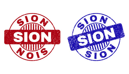 Grunge SION round stamp seals isolated on a white background. Round seals with distress texture in red and blue colors. Vector rubber imprint of SION text inside circle form with stripes.