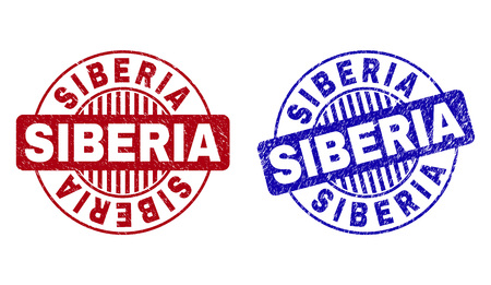 Grunge SIBERIA round stamp seals isolated on a white background. Round seals with grunge texture in red and blue colors. Vector rubber overlay of SIBERIA label inside circle form with stripes.