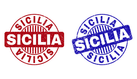 Grunge SICILIA round stamps isolated on a white background. Round seals with grunge texture in red and blue colors. Vector rubber imitation of SICILIA label inside circle form with stripes.