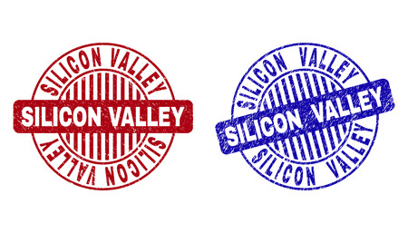 Grunge SILICON VALLEY round stamp seals isolated on a white background. Round seals with grunge texture in red and blue colors.