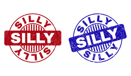 Grunge SILLY round stamp seals isolated on a white background. Round seals with grunge texture in red and blue colors. Vector rubber imprint of SILLY label inside circle form with stripes.