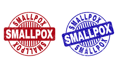 Grunge SMALLPOX round stamp seals isolated on a white background. Round seals with grunge texture in red and blue colors. Vector rubber overlay of SMALLPOX caption inside circle form with stripes.