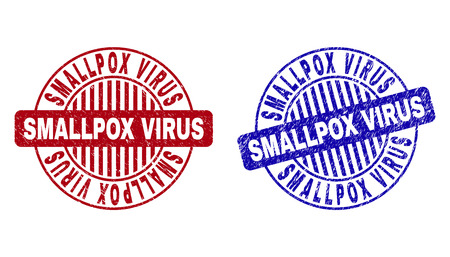 Grunge SMALLPOX VIRUS round stamp seals isolated on a white background. Round seals with grunge texture in red and blue colors.