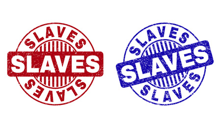 Grunge SLAVES round stamp seals isolated on a white background. Round seals with grunge texture in red and blue colors. Vector rubber imitation of SLAVES title inside circle form with stripes. Illustration