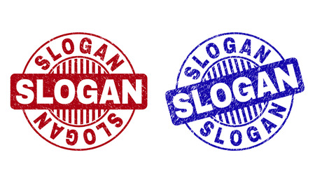 Grunge SLOGAN round stamps isolated on a white background. Round seals with grunge texture in red and blue colors. Vector rubber overlay of SLOGAN label inside circle form with stripes. Ilustração Vetorial