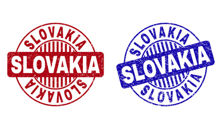 Grunge SLOVAKIA round stamp seals isolated on a white background. Round seals with distress texture in red and blue colors. Vector rubber imprint of SLOVAKIA label inside circle form with stripes.