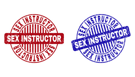 Grunge SEX INSTRUCTOR round stamp seals isolated on a white background. Round seals with grunge texture in red and blue colors.