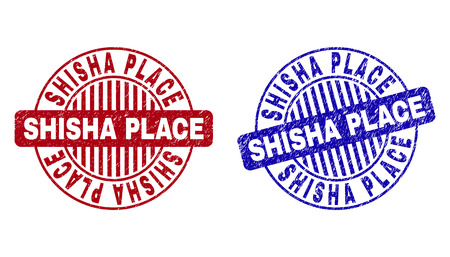 Grunge SHISHA PLACE round stamp seals isolated on a white background. Round seals with grunge texture in red and blue colors. Illustration