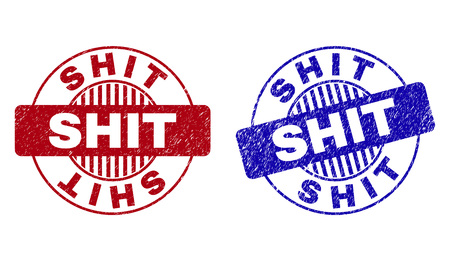 Grunge SHIT round stamp seals isolated on a white background. Round seals with grunge texture in red and blue colors. Vector rubber watermark of SHIT tag inside circle form with stripes.