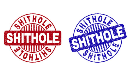 Grunge SHITHOLE round stamps isolated on a white background. Round seals with grunge texture in red and blue colors. Vector rubber overlay of SHITHOLE text inside circle form with stripes.