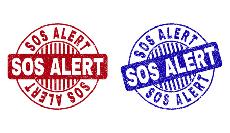 Grunge SOS ALERT round stamp seals isolated on a white background. Round seals with grunge texture in red and blue colors. Vector rubber watermark of SOS ALERT title inside circle form with stripes.