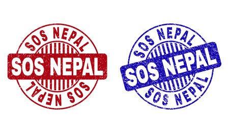 Grunge SOS NEPAL round stamp seals isolated on a white background. Round seals with grunge texture in red and blue colors. Vector rubber imprint of SOS NEPAL caption inside circle form with stripes. Illustration