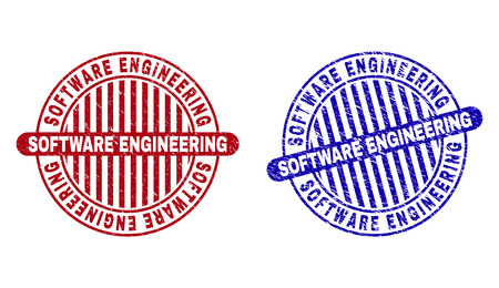 Grunge SOFTWARE ENGINEERING round stamp seals isolated on a white background. Round seals with distress texture in red and blue colors.