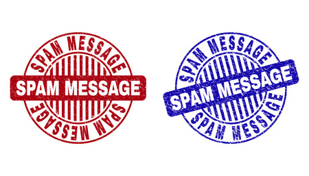 Grunge SPAM MESSAGE round stamp seals isolated on a white background. Round seals with grunge texture in red and blue colors.